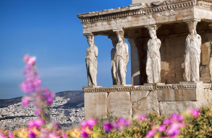 Parthenon temple during spring time on the Athenian Acropolis, Greece