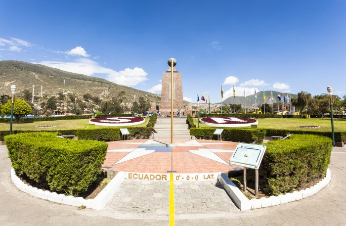 Middle of the World Monument, one of the most visited by tourists from worldwide locations, Quito, Ecuador.