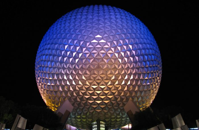Epcot Spaceship_Earth_at_night